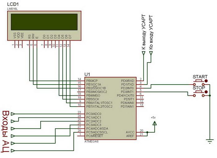 Схема АЦП преобразователя на микроконтроллере ATmega8