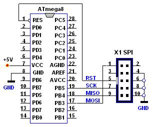 Подключение Atmega8 к программатору