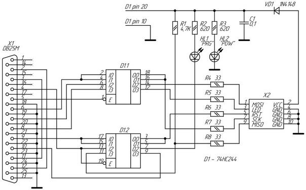 Рисунок 1. Электрическая принципиальная схема адаптера STK200/300