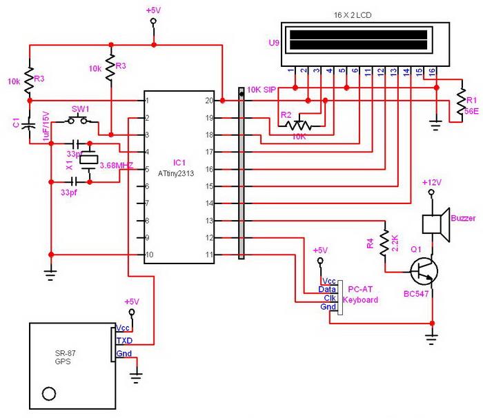 Схема GPS-трекера на микроконтроллере ATtiny2313