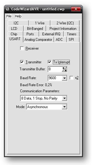 CodeWizardAVR, настройка USART