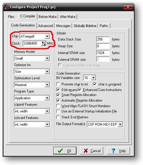 настройка проекта CodVisionAVR - выбор чипа и тактовой частоты