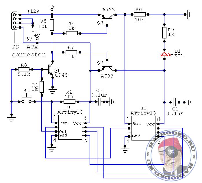 Принципиальная схема высоковольтного программатора для реанимации микроконтроллеров ATtiny13