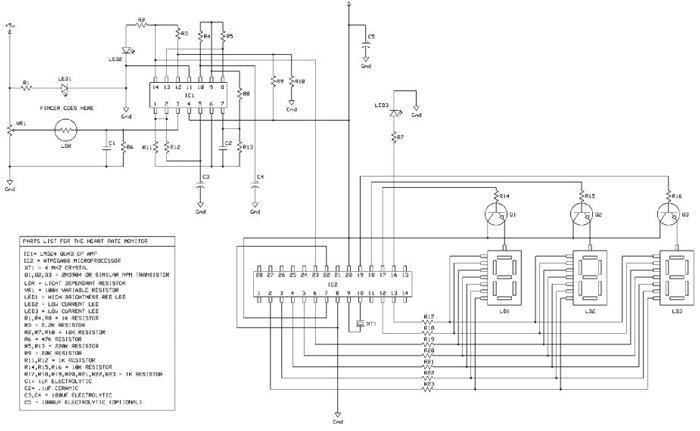 Принципиальная схема измерителя пульса