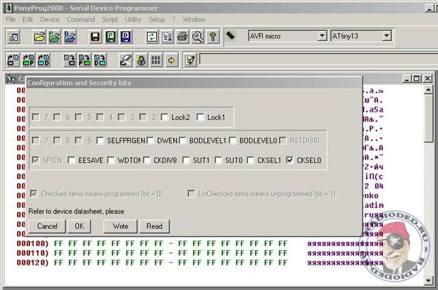 Выставление fuse-битов микроконтроллера AVR в PonyProg