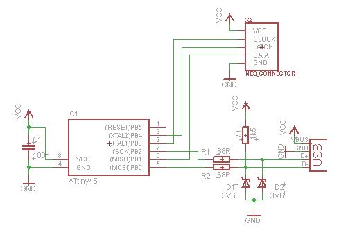 Схема для подключения джойстика от Dendy к компьютеру