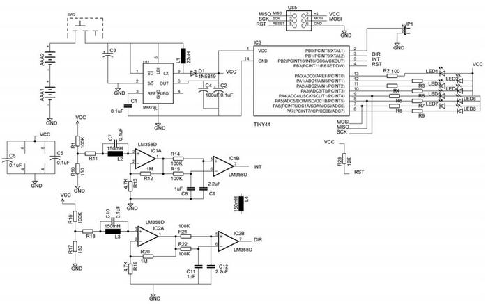 Схема светодиодного волчка на микроконтроллере AVR ATtiny44