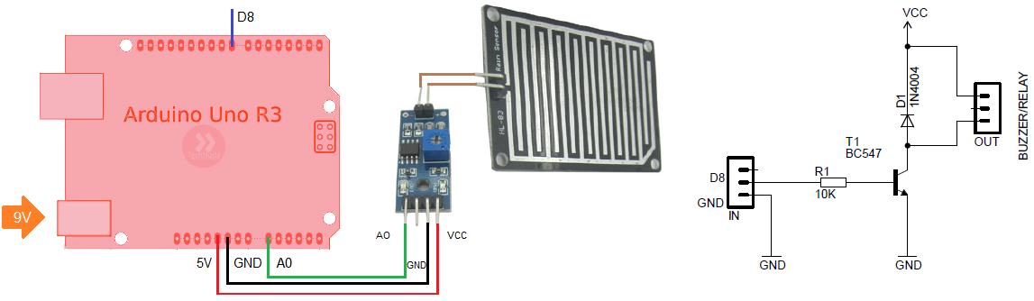 Схема подключения сенсора дождя к Arduino