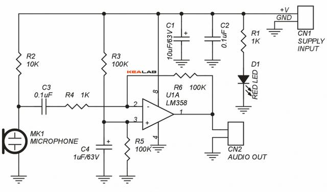 Микрофонный усилитель на операционном усилителе (ОУ) LM358