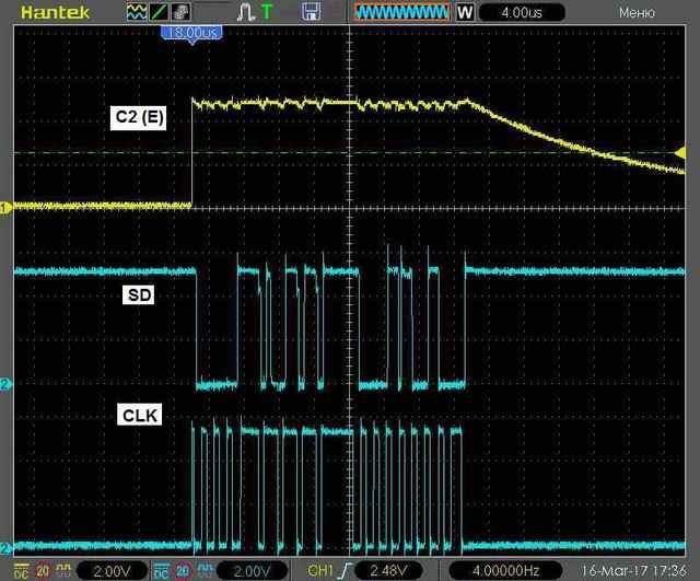 Осциллограмма передачи данных на ЖК-дисплей в байтовом режиме