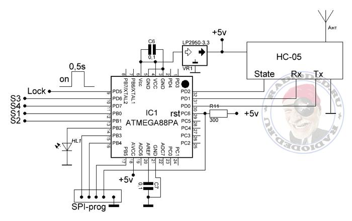 Схема кодового замка на базе Bluetooth-модуля HC-05